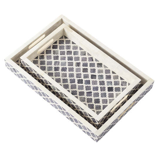 Grey Bone Inlay Tray