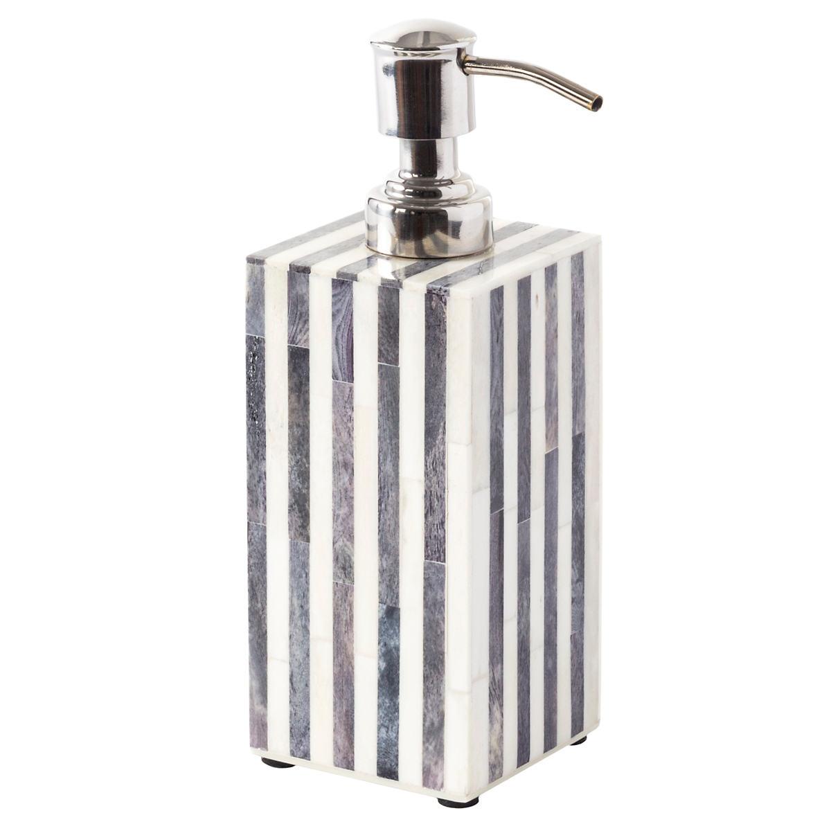 Grey Stripe Bone Inlay Soap Bottle