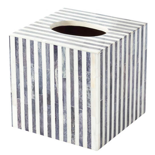 Grey Stripe Bone Inlay Tissue Box