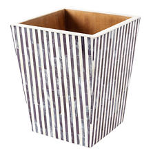 Grey Stripe Bone Inlay Wastebasket