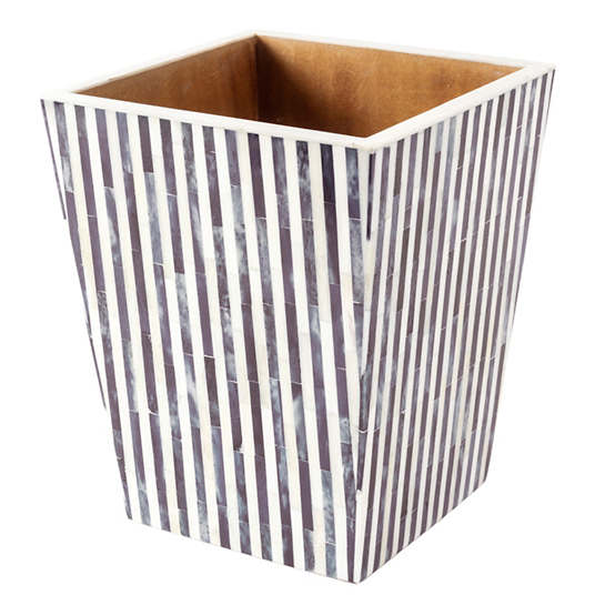 Grey Stripe Bone Inlay Wastebasket