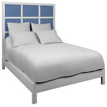 Estate Linen French Blue Grid Block Bed