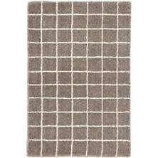 Grid Grey Wool Tufted Rug