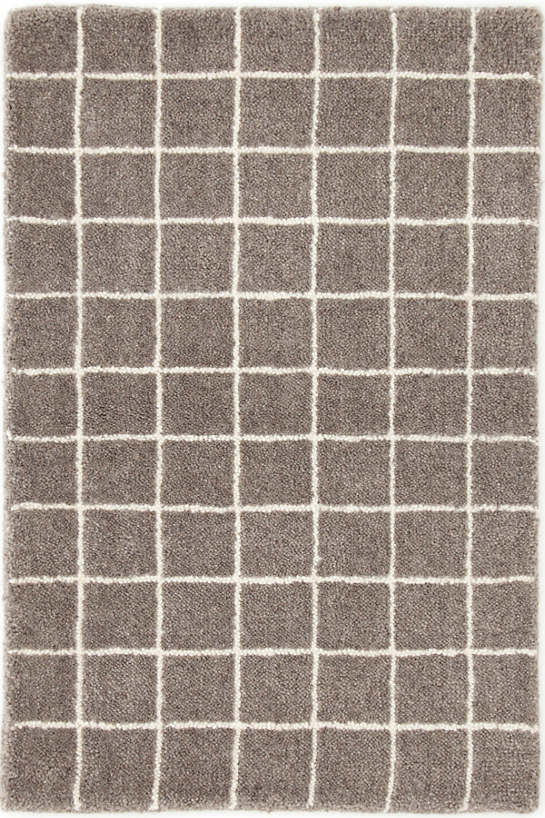 Grid Grey Tufted Wool Rug