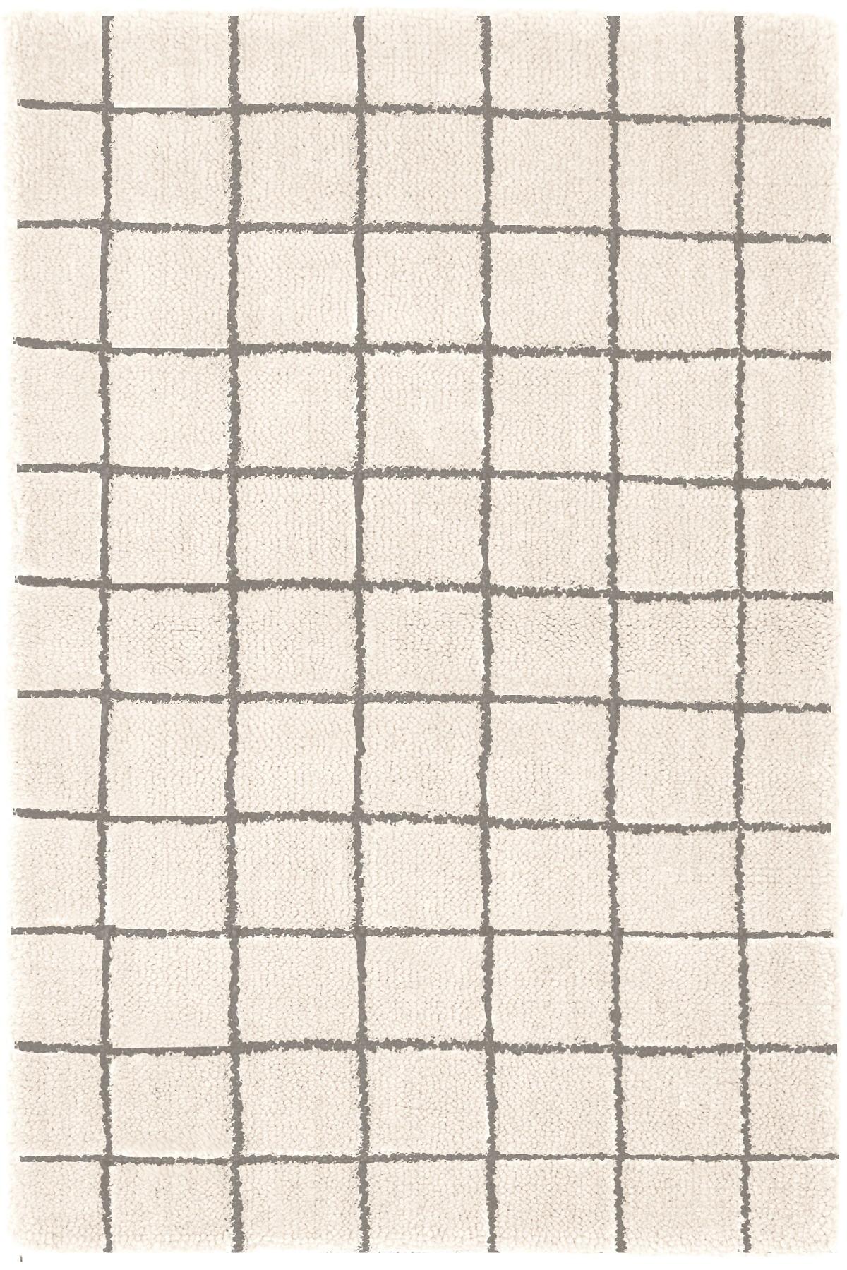 Grid Ivory  Wool Tufted Rug