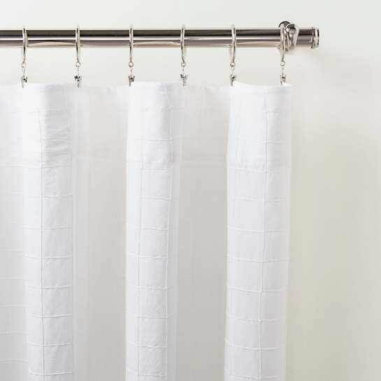 Grid Stitch White Curtain Panel
