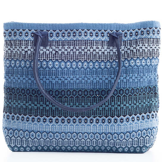 Gypsy Stripe Denim/Navy Woven Cotton Tote Bag