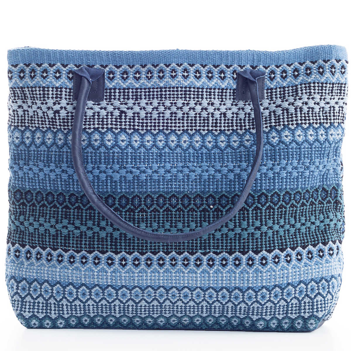Gypsy Stripe Denim Navy Woven Cotton Tote Bag The Outlet