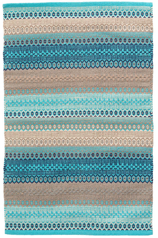 Gypsy Stripe Turquoise/Grey Woven Cotton Rug