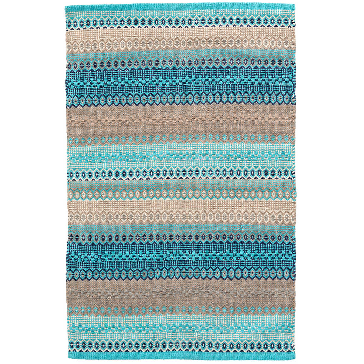 Gypsy Stripe Turquoise Grey Woven Cotton Rug Dash Amp Albert