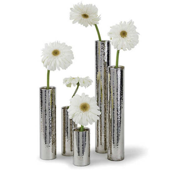 Hammered Metal Bud Vase/Set Of 5