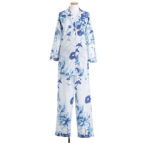 Happy Floral Voile Blue Pajama