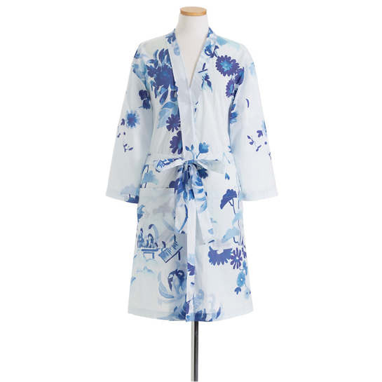 Happy Floral Voile Blue Robe
