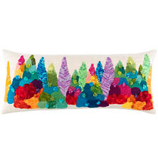 Happy Trees Embroidered  Decorative Pillow
