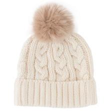 Ivory/Quartz Fur Wool Blend Hat