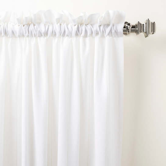 Hemstitch Stripe White Curtain Panel