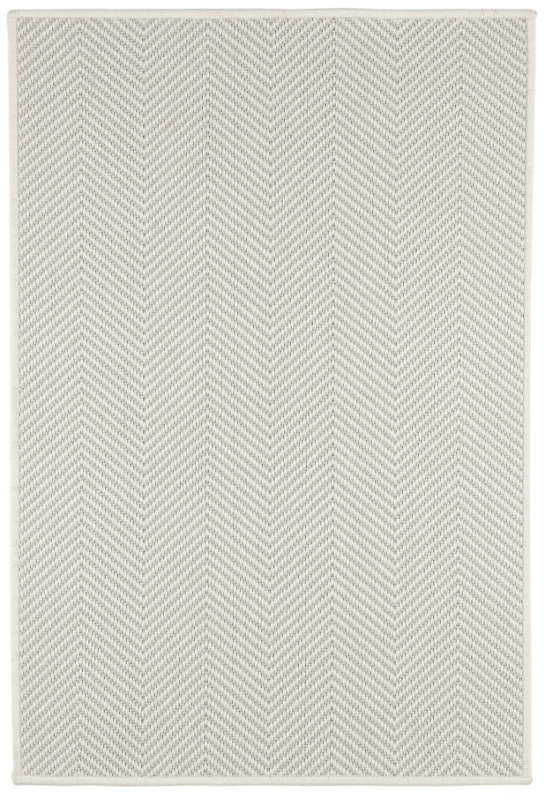 Henly Ivory/Light Grey Woven Wool Custom Rug With Pad