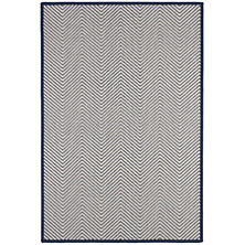 Henly Ivory/Navy Woven Wool Custom Rug With Pad