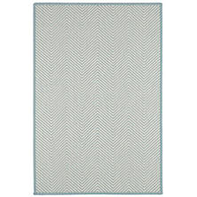 Henly Ivory/Sky Woven Wool Custom Rug With Pad