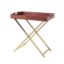 Henry Leather Cognac Folding Table