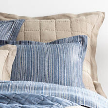 Holden Linen Natural/Denim Quilted Sham