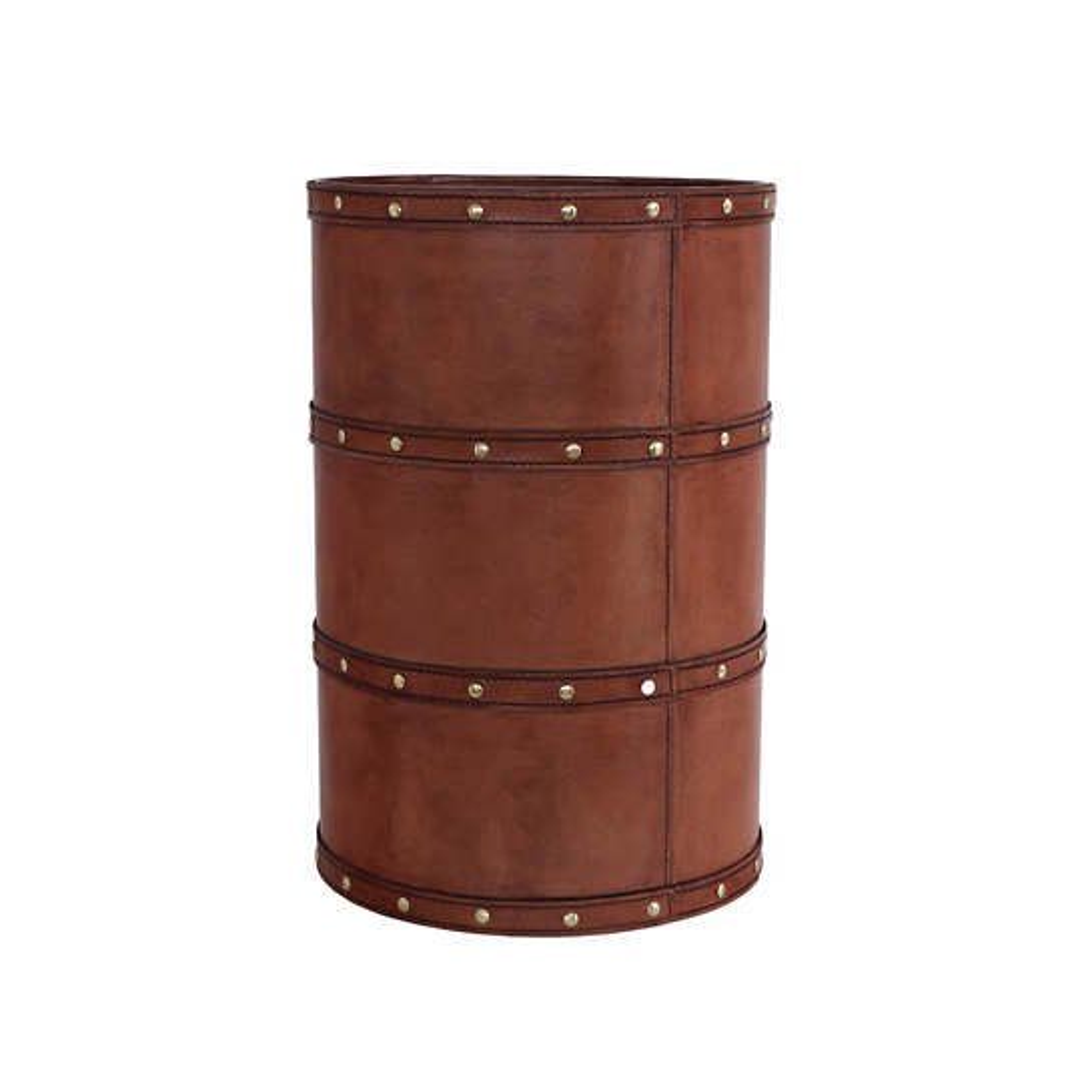 Holmes Leather Cognac Wastebasket