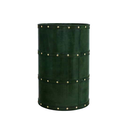 Holmes  Leather Evergreen Wastebasket