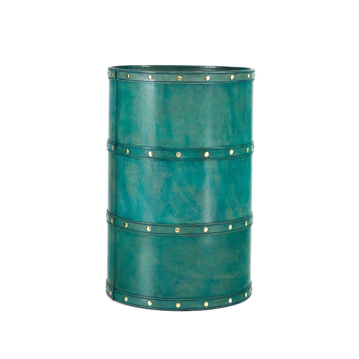 Holmes Leather Turquoise Wastebasket