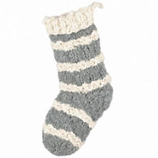 Hand Knit Grey Stocking