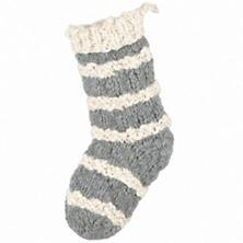 Hand Knit Grey Stocking