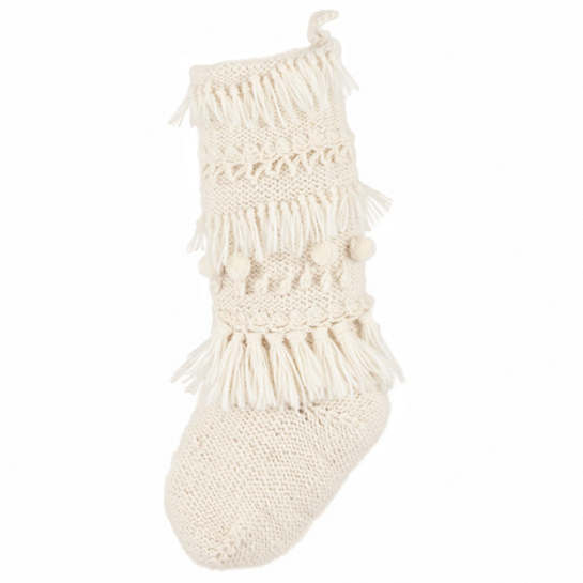 Hand Knit Ivory Stocking