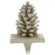 White Pinecone Stocking Holder
