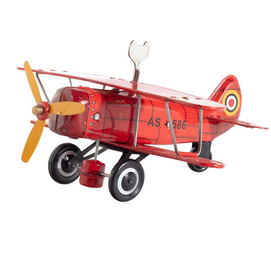 Curtis Biplane Red Collectible Tin Toy