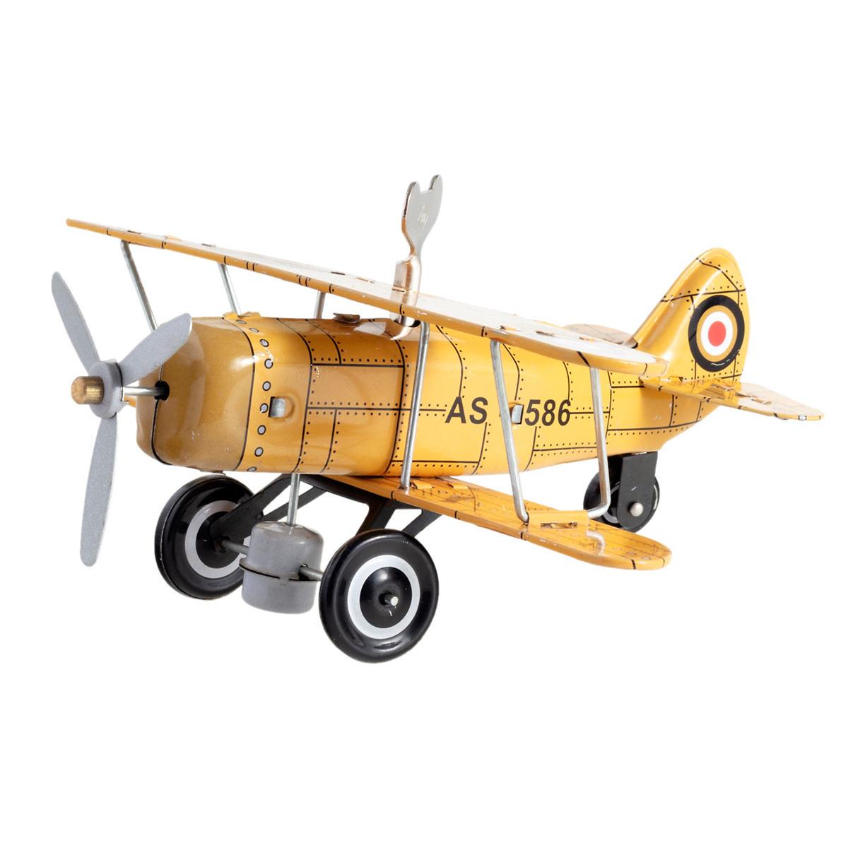 Curtis Biplane Yellow Collectible Tin Toy