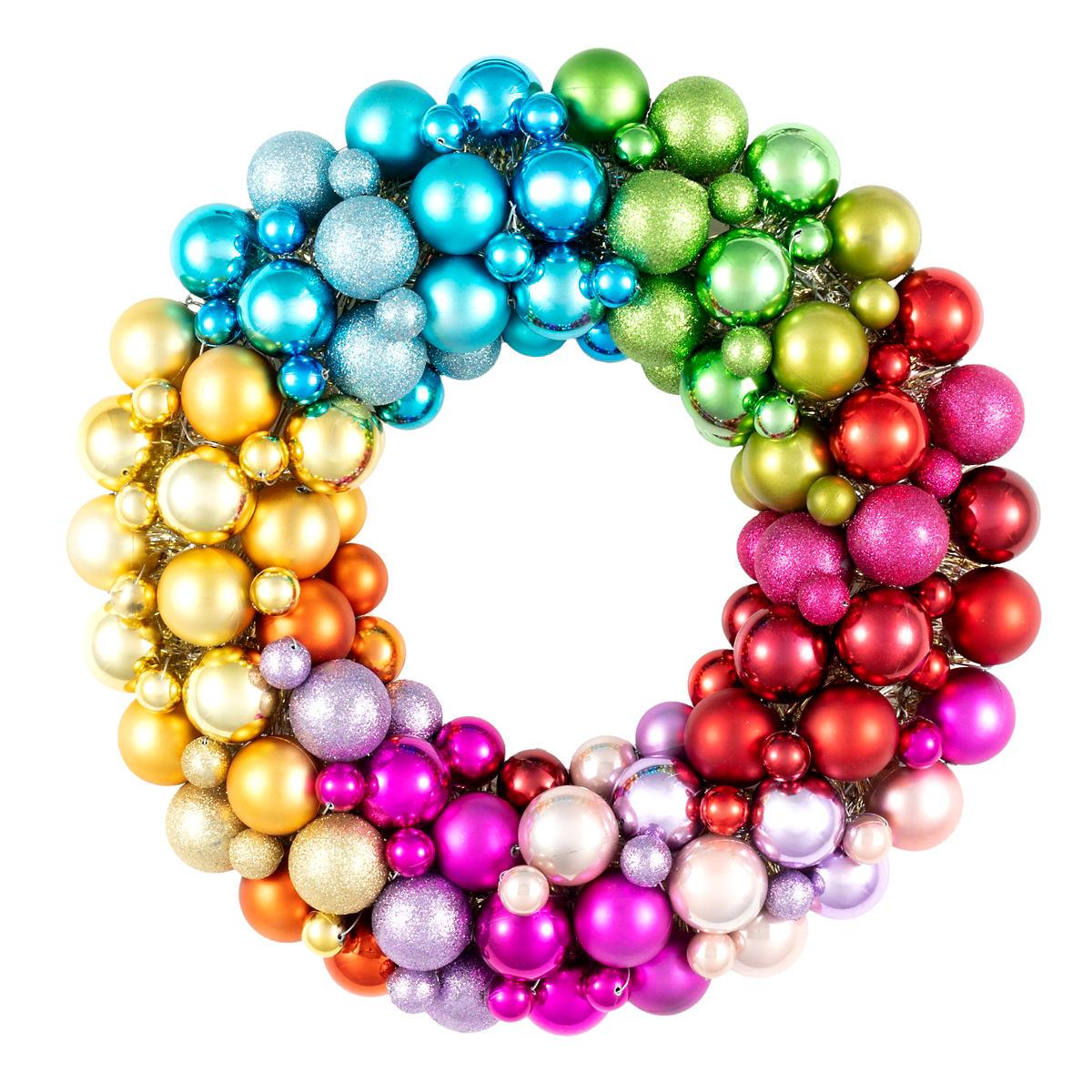 Rainbow Ball Wreath