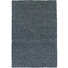 Honeycomb Indigo/Grey Wool Woven Rug