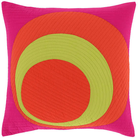 Hot Olive Quilted  Decorative Pillow