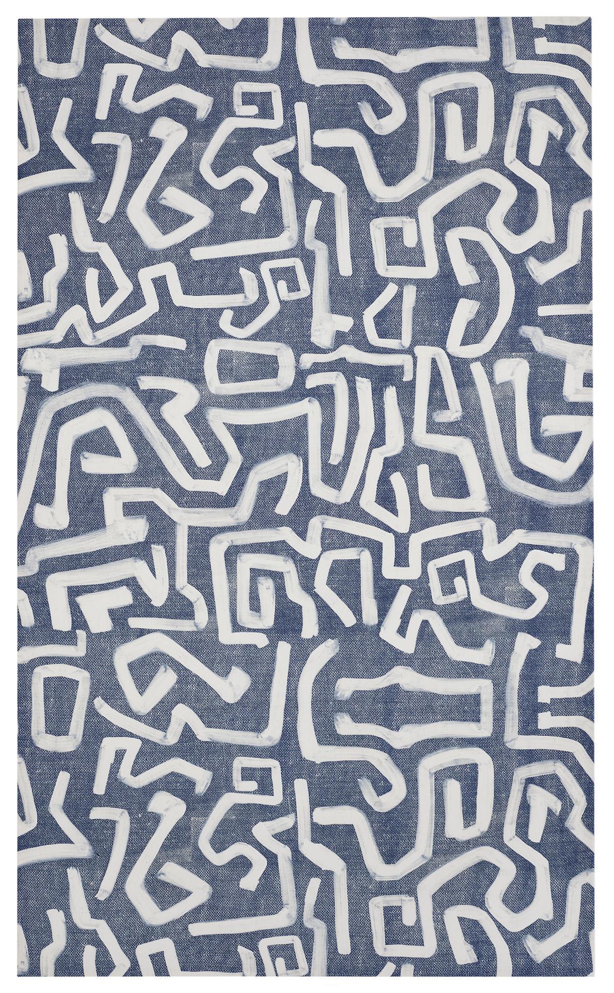 Hyroglif Indigo Stretched Fabric Art
