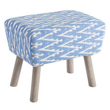Ikat French Blue Mini Ottoman