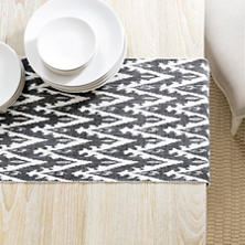 Ikat Woven Black Table Runner