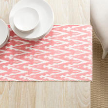 Ikat Woven Coral Table Runner