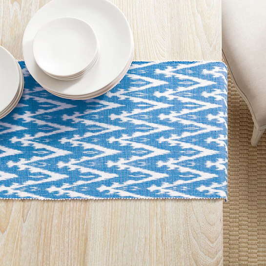 Ikat Woven French Blue Table Runner