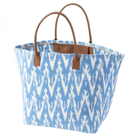 Ikat Woven French Blue Tote Bag