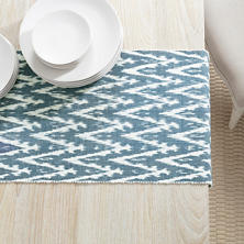 Ikat Woven Indigo Table Runner