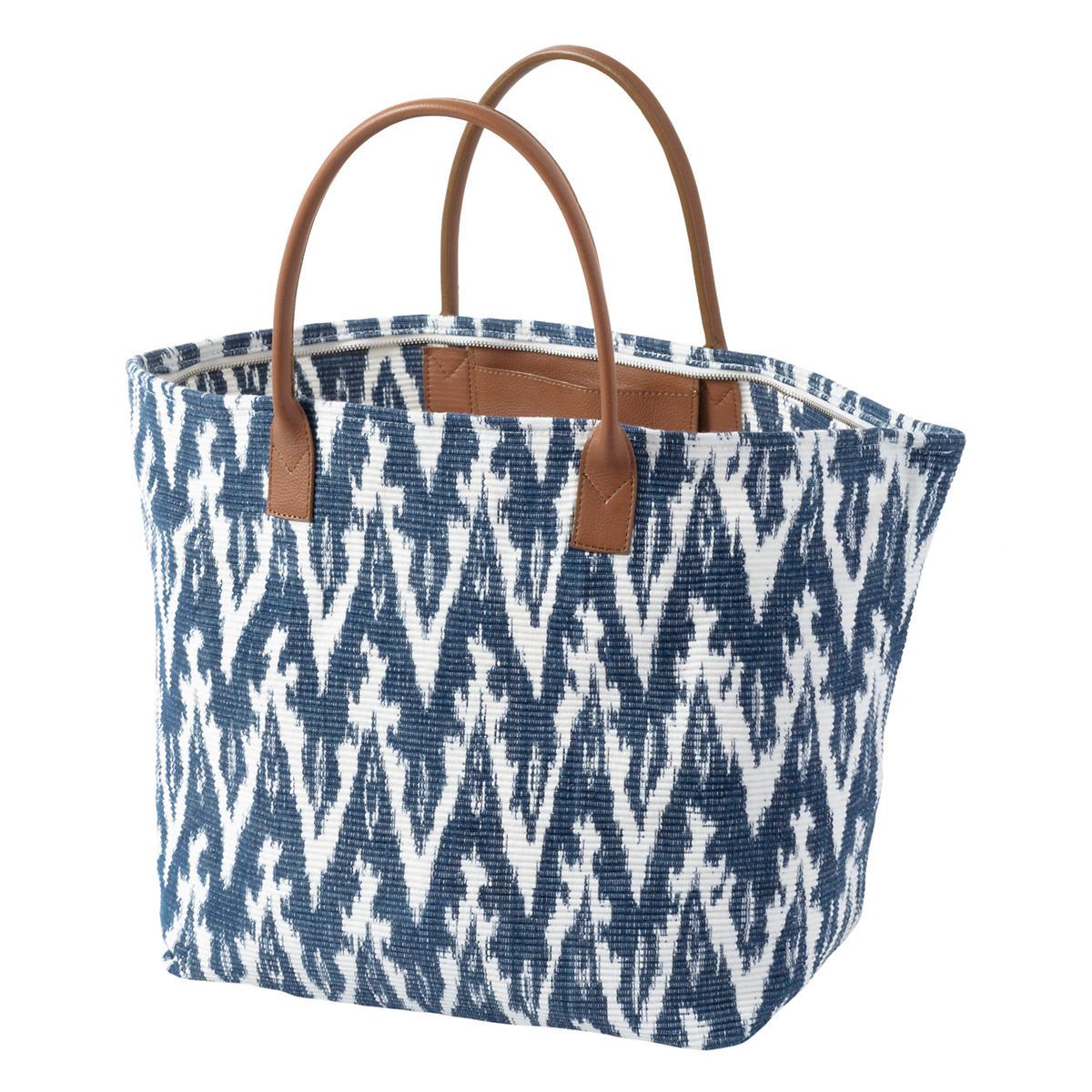 Ikat Woven Indigo Tote Bag