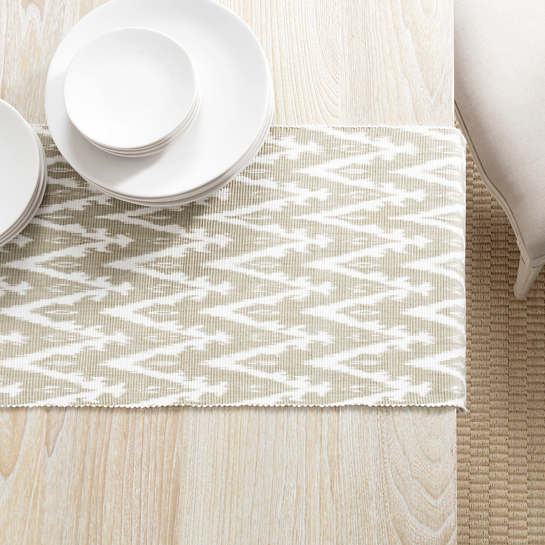 Ikat Woven Platinum Table Runner