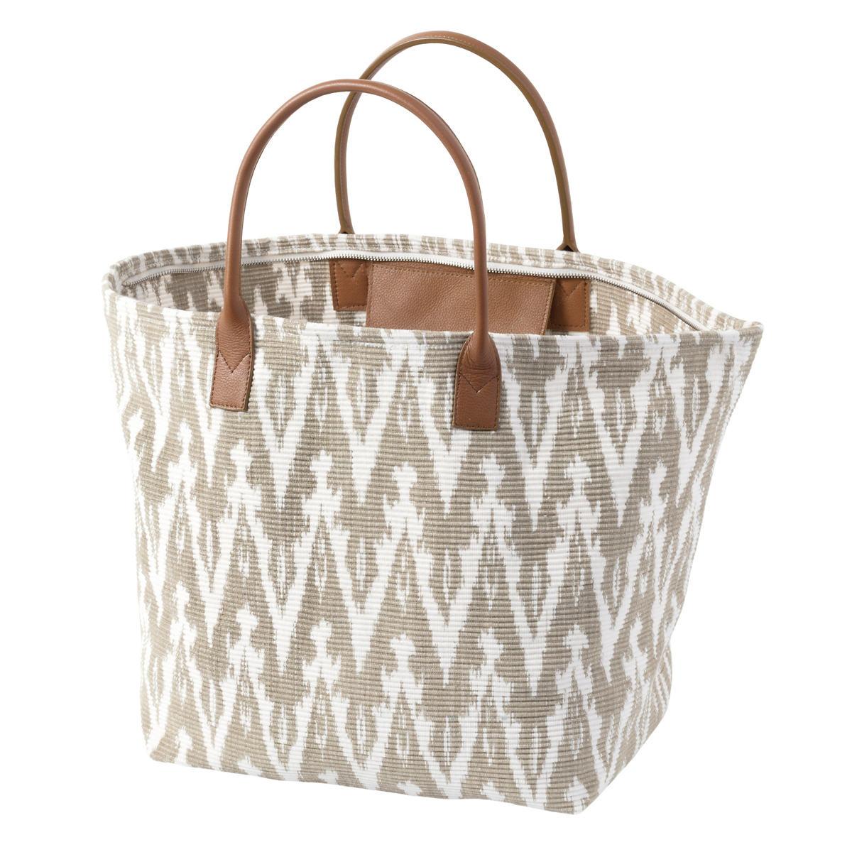 Ikat Woven Platinum Tote Bag