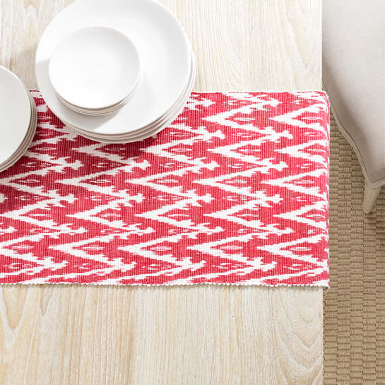 Ikat Woven Red Table Runner