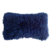 Indigo Longwool Tibetan Sheepskin Decorative Pillow