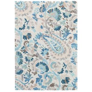 Ines Blue Micro Hooked Wool Rug
